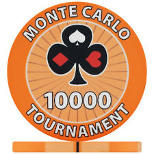 Monte Carlo Tournament Numbered Ceramic Poker Chips - Orange 10000 (Roll of 25)