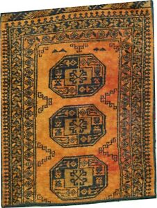 Oriental Carpet Old handmade Afghan gold wool little rug  3.5 x 2.8 FT