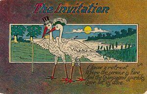 Storks The Invitation Postcard - 1909