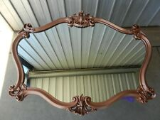 Wall Mirror Mantel Oval Ornate Detail Syroco Copper Coloured Frame Vintage