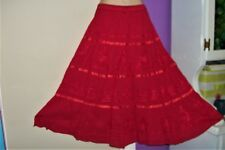 Ma Guggi~Hippie~Boho~Peasant Skirt~Free Size~S, M, L~Long~Red~Full~100% Cotton