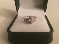 GENUINE DIAMOND 14K SOLID WHITE GOLD RING