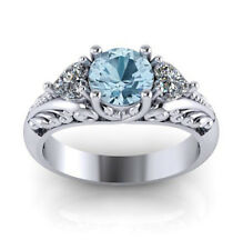 Aquamarine & White Sapphire Silver Women Wedding Engegament Ring Jewelry SZ 5-11