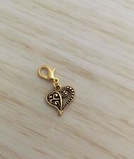 Memory Floating Locket Gold Heart Clip on Charm Only Bag Keyring Necklace NEW