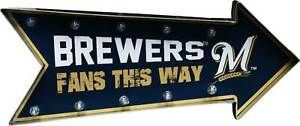 Milwaukee Brewers Arrow Marquee Light Up Metal Sign Wall Decor