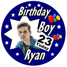 MENS PERSONALISED BIRTHDAY BADGE,  ANY AGE, NAME, PHOTO, AND COLOURS / GIFTS
