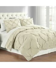 Cathay Home Inc. Premium Collection Pintuck Pinch Pleat Comforter Set KING Taupe
