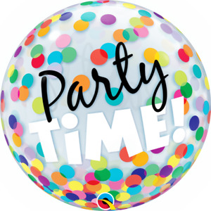 """""""Party Time"""" Colourful Dots Bubble Balloon- 22""""/ 56 CM."""