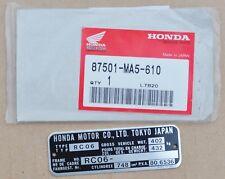 Honda Frame Plate for Honda CB750 RC06 Models (87501-MA5-610)