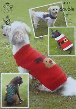 Knitting Pattern 4 stili cani natale Cappotti Rudolph pupazzo di neve DK King Cole 4115