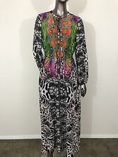 NWT Hale Bob multi maxi animal print paisley chiffon long sleeves dress size XS