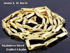 "Mens 30"" & 4mm 14K Gold PT Stainless Steel Bullet Hiphop Chain Link Necklace 50G"