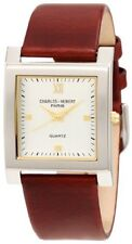 Charles-Hubert Mens Brown Leather Quartz Watch Square Face 3688-W