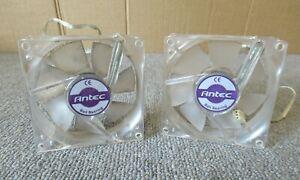 2 x Antec 0761345-75001-1 PRO 80mm 3Pin plug Double Ball Bearing Clear Case Fan