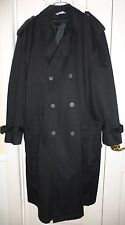 MISTY HARBOR Men's Double Breasted Trench Coat w/ Liner, 50 Long, Black