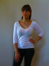 Vintage retro true 1990s 12 M white stretch knit top Le Lis Blanc