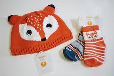 Gymboree Fox Hat Socks LOT Size 3 6 Months Winter Knit Orange Navy Ret $27