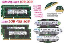 Lot For Samsung 8GB 4GB 1GB 2GB DDR2 DDR3 800 1600 MHz Laptop Memory RAM SODIMM