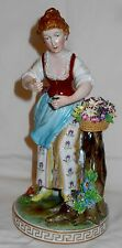 RARE Antique Dresden Saxony Exquisite Figurine Woman With Delicate Flowers L@@K!