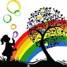 Girl, Rainbow, Bubbles B/W Cross Stitch Chart BUY 1 GET 1 HALF PRICE