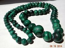 19th c. rare Antique lovely Necklace genuine Ural malachite green 373 gr old