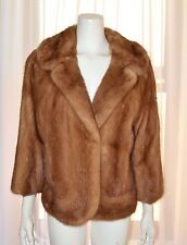 Vintage Genuine Natural Light Brown Mink Coat Jacket Medium M Bolero VTG