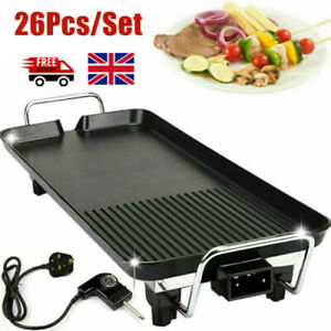 26x Electric Table Top Grill Griddle BBQ Hot Plate Camping Cooking Cast Iron Pan
