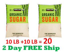Organic Cane Sugar Raw Fine Granulated (10 Lb X 2 Pack=20Lbs) Kosher Cookie Bake