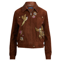 $1,298 Polo Ralph Lauren Embroidered Peacock Souvenir Suede Leather Jacket NWT