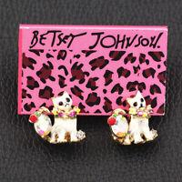 Betsey Johnson Enamel Crystal Flower Garland Cat Kitten Earbob Dangle Earrings