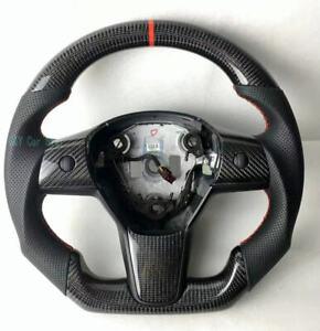 100% Real Carbon Fiber/Leather Car Steering Wheel For Tesla Model 3
