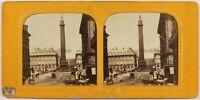 Francia Parigi Animato Place Vendome Foto c1865 Diorama Stereo Vintage Albumina