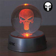 Punisher Skull 3D LED Crystal Ball Night Light Table Desk Lamp Xmas Gift RGB