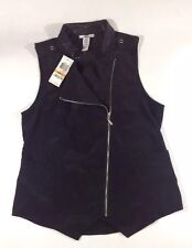 NEW BAR III Rayon Women's Vest Size Small S Black Faux Leather Trim Shirt Coat