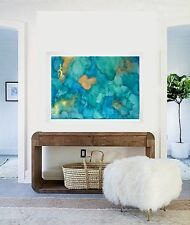 Watercolour L Fully FRAMED Resin effect Modern ORIGINAL  Abstract Painting Art