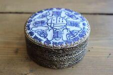 New listing Vintage Ornate Silverplate Blue White Porcelain Snuff Jar Case
