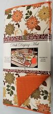 """Kitchen Microfiber Quick Drying Mat, washable (16"""" x 24"""") FLOWERS, orange by BH"""