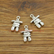 15 Scarecrow Inukshuk Charms Eskimo Structure Charm Antique Silver 14x21 489