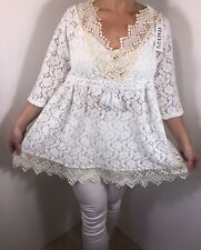 NEW White Lace Tunic Top Tassels Ornate Soft Feel Long Fits Sizes 14-18