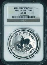 PERFECT 2003 P AUSTRALIA LUNAR YEAR GOAT 1 oz Silver Coin NGC MS70
