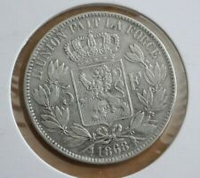 Belgium Silver 5 Francs, 1868 crown size, Position A, nice condition