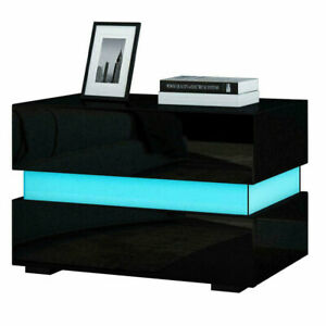 High Gloss LED Bedside Table Nightstand Cabinet Bedroom 2 Chest of Drawers Black