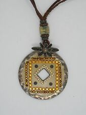 """VTG GAS BIJOUX MODERN HAMMERED JEWELED DISK PENDANT ON LEATHER CORD NECKLACE 14"""""""