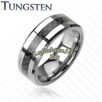 Quality Tungsten Carbide Wedding Band W/ Black Carbon Fiber Inlay Size 5-13