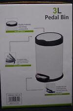 Deluxe Stainless Steel Pedal Bin Rubbish Waste Trash Can Kitchen Office Home 3L