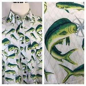Vented Fishing Shirt~Men's Large~Fish~Short Sleeve~Cabela's~Button~Mahi Mahi~
