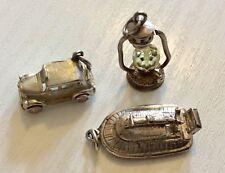 Buen Lote De Tres Vintage Encantos de Plata Maciza-Lámpara de Coche Vintage Aerodeslizador -