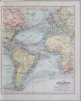 1898 Karte Atlantischer Ozean Strömungen Dampfschiff Routen Britische Possesions