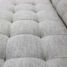 Elba Light Grey & Taupe 3 Seater Sofa With Button Detailing & Bolster CUS Sof022