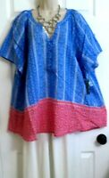 NEW Red Mercury Blue White Loose Long Casual Lightweight Top Kim Rogers Plus 1X